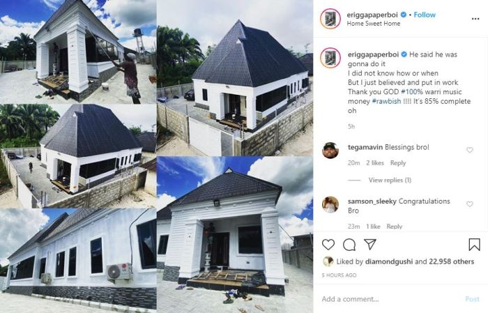 Erigga Appreciates God As He Shows Off His New Mansion (Photos)